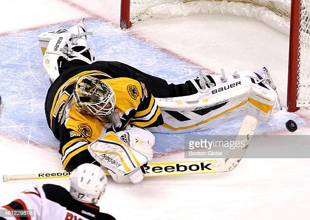 Boston Bruins goalie Niklas Svedberg makes a diving toe pad save in the second period The Boston Bruins took on the New Jersey Devils at TD Garden on...
