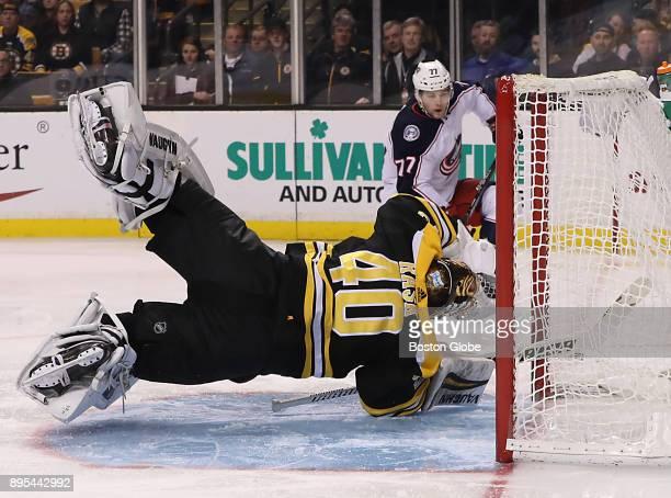 Boston Bruins goalie Tuukka Rask gets horizontal to block Columbus Blue Jackets right wing Josh Anderson's shot during the third period The Boston...
