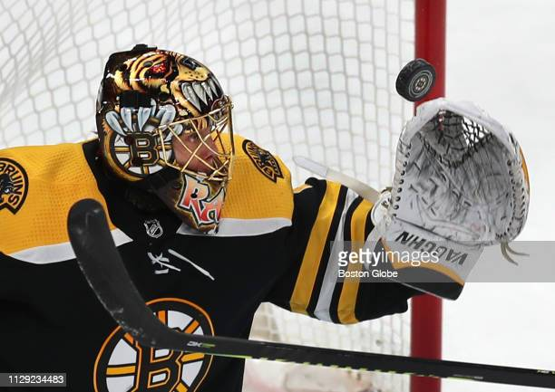 Boston Bruins goalie Tuukka Rask makes a first period glove save The Boston Bruins host the Florida Panthers in a regular season NHL hockey game at...