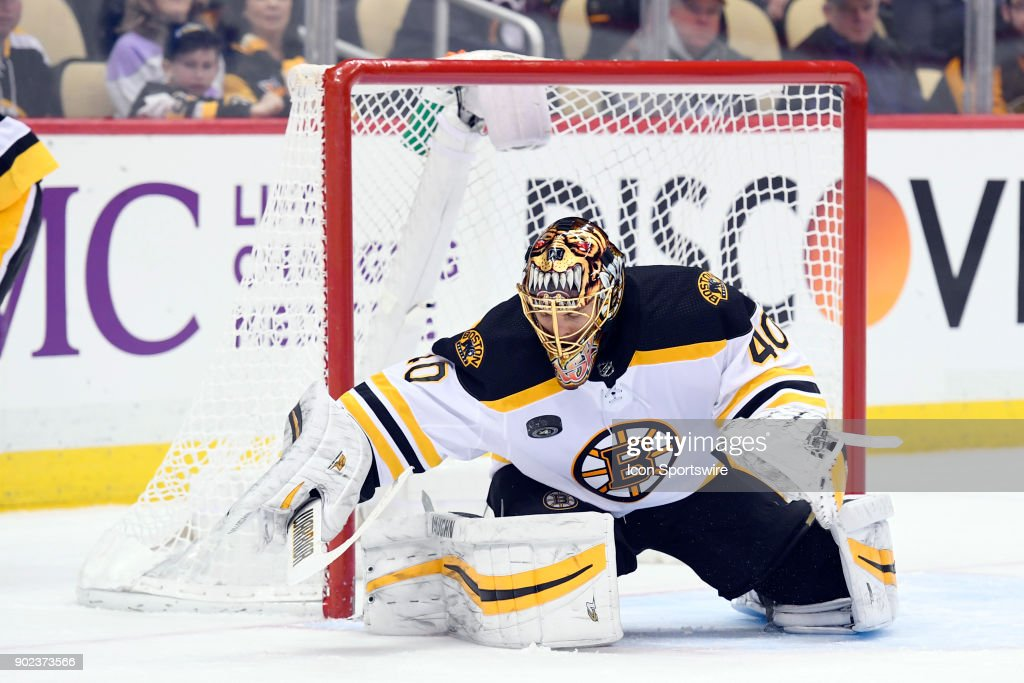 Boston Bruins Goalie Tuukka Rask (40) makes a save during the second period in the NHL game between the Pittsburgh Penguins and the Boston Bruins on January 7, 2018, at PPG Paints Arena in Pittsburgh, PA.