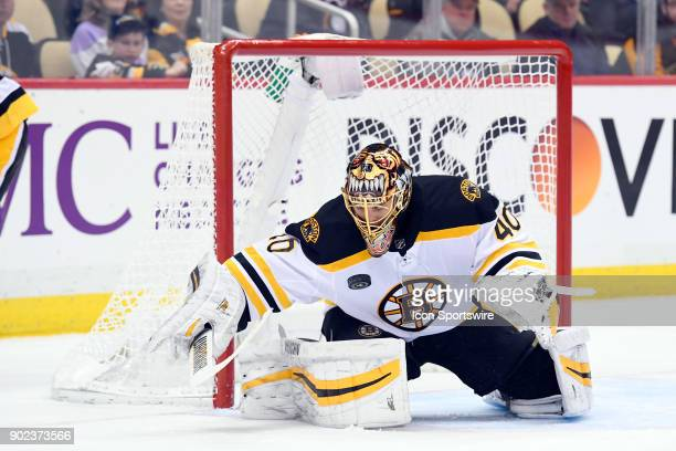 Boston Bruins Goalie Tuukka Rask makes a save during the second period in the NHL game between the Pittsburgh Penguins and the Boston Bruins on...