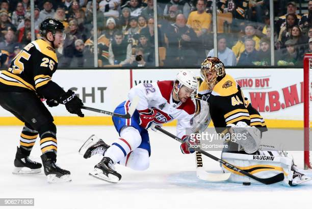 Boston Bruins goalie Tuukka Rask makes the save on Montreal Canadiens winger Jonathan Drouin during a game between the Boston Bruins and the Montreal...