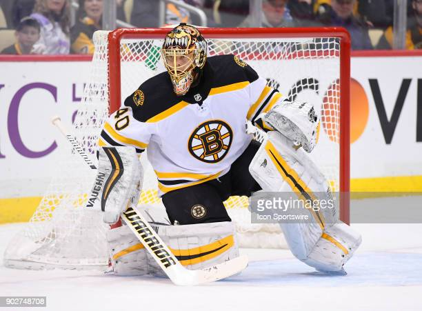 Boston Bruins Goalie Tuukka Rask tends net during the second period in the NHL game between the Pittsburgh Penguins and the Boston Bruins on January...