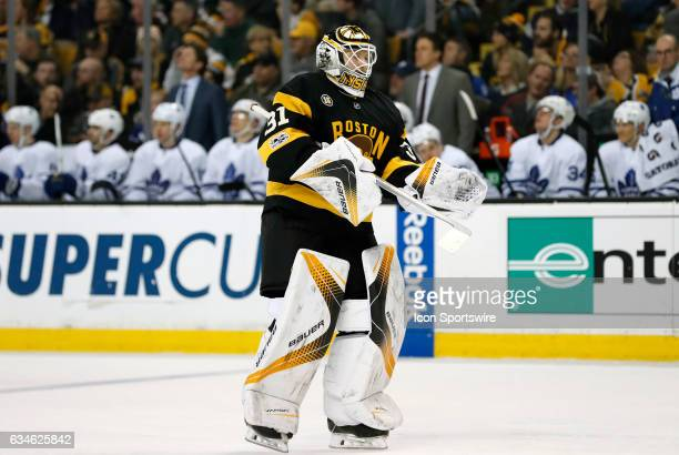 Boston Bruins goalie Zane McIntyre skates out to take over the duties in net during a regular season NHL game between the Boston Bruins and the...