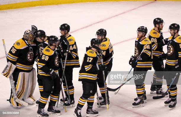 Boston Bruins goaltender Anton Khudobin and teammates celebrate their 52 victory over the Ottawa Senators The Boston Bruins host the Ottawa Senators...