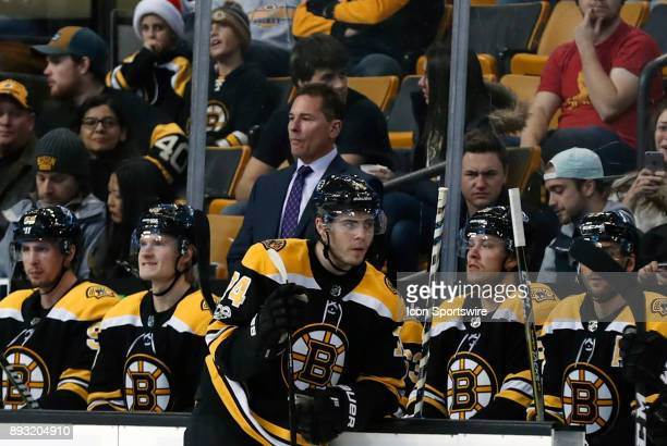 Boston Bruins head coach Bruce Cassidy and team wait through video replay during a game between the Boston Bruins and the Washington Capitals on...