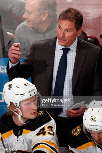 Boston Bruins Head Coach Bruce Cassidy keeps an eye on game progress against the Florida Panthers at the BBT Center on December 14 2019 in Sunrise...