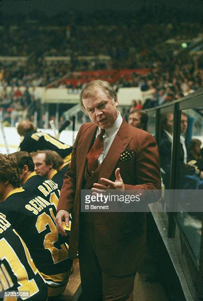Boston Bruins head coach Don Cherry behind the bench during a game against the New York Rangers at Madison Square Garden New York New York 1970s