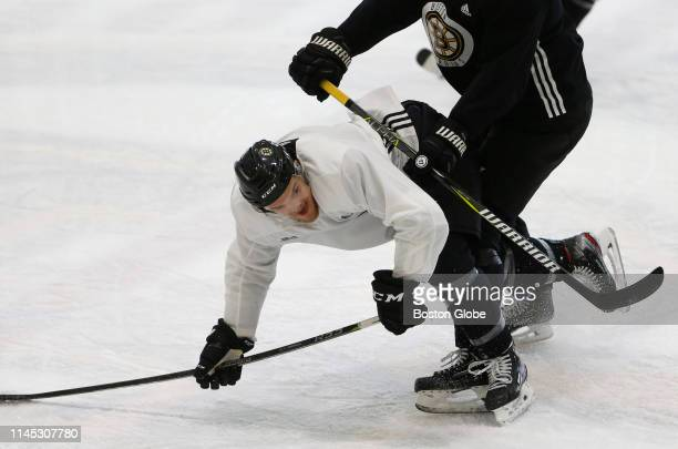 Boston Bruins' Karson Kuhlman runs through a drill during Bruins practice ahead of the start of the NHL Stanley Cup Finals at Warrior Arena in the...