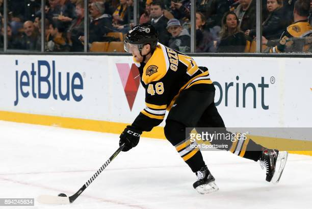 Boston Bruins left defenseman Matt Grzelcyk starts a rush up ice during a game between the Boston Bruins and the Washington Capitals on December 14...