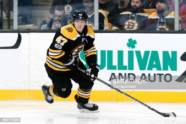 Boston Bruins left defenseman Torey Krug cycles the puck during a game between the Boston Bruins and the New York Islanders on December 9 at TD...
