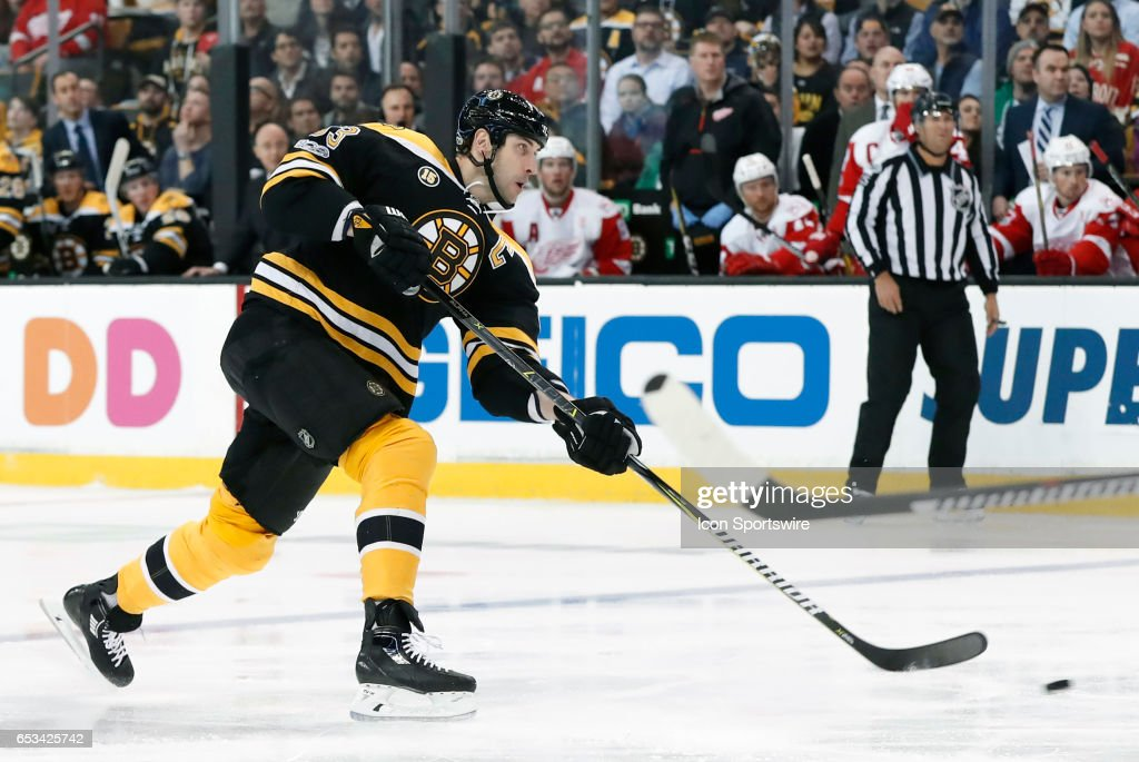Boston Bruins left defenseman Zdeno Chara (33) lets a shot go during a regular season NHL game between the Boston Bruins and the Detroit Red Wings on March 8, 2017 at TD Garden in Boston, Massachusetts. The Bruins defeated the Red Wings 6-1.