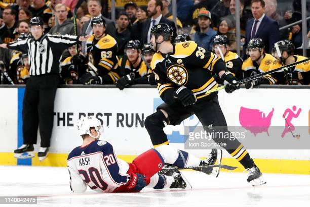 Boston Bruins left defenseman Zdeno Chara pays back Columbus Blue Jackets winger Riley Nash during Game 2 of the Second Round 2019 Stanley Cup...