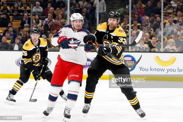 Boston Bruins left defenseman Zdeno Chara prevents Columbus Blue Jackets center Matt Duchene from the tip during Game 1 of the Second Round 2019...