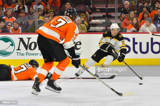 Boston Bruins left wing Anders Bjork * in action during the NHL game between the Boston Bruins and the Philadelphia Flyers on December 02 2017 at the...