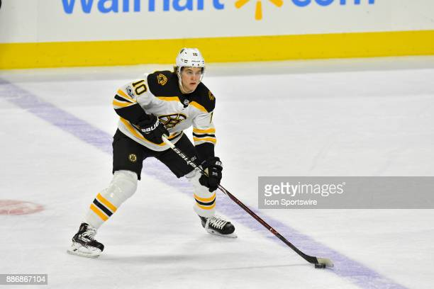 Boston Bruins left wing Anders Bjork * looks to pass during the NHL game between the Boston Bruins and the Philadelphia Flyers on December 02 2017 at...