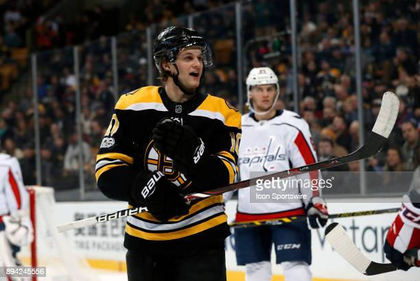 Boston Bruins left wing Anders Bjork reacts to being called for a foul during a game between the Boston Bruins and the Washington Capitals on...