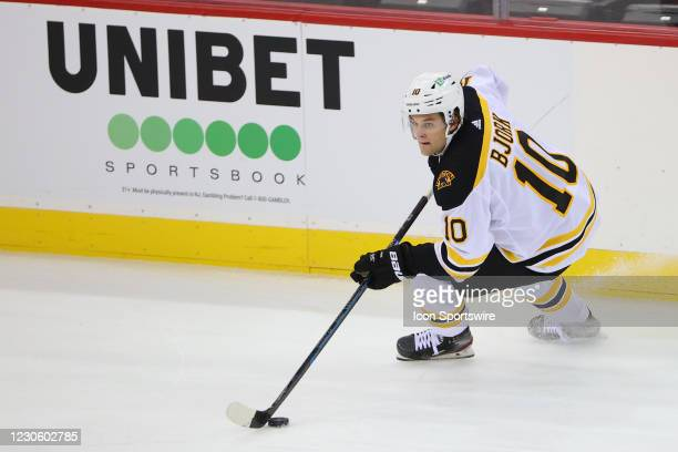 Boston Bruins left wing Anders Bjork skates during the National Hockey League game between the New Jersey Devils and the Boston Bruins on January 14,...