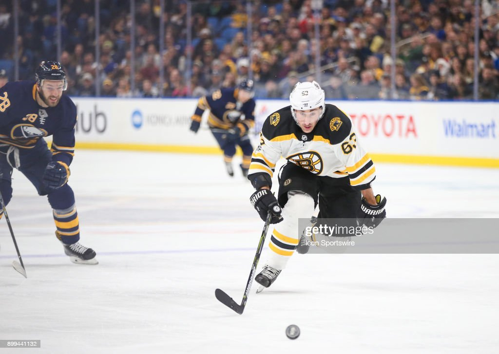 Boston Bruins left wing Brad Marchand (63) breaks in on goal during an NHL game between the Boston Bruins and Buffalo Sabres on December 19, 2017, at KeyBank Center in Buffalo, NY.