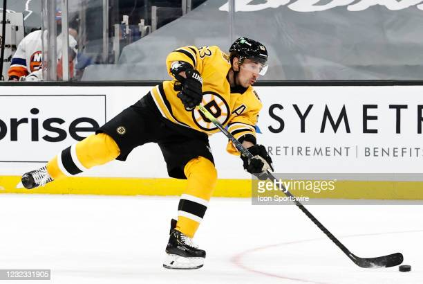 Boston Bruins left wing Brad Marchand scores the first goal of the contest during a game between the Boston Bruins and the New York Islanders on...