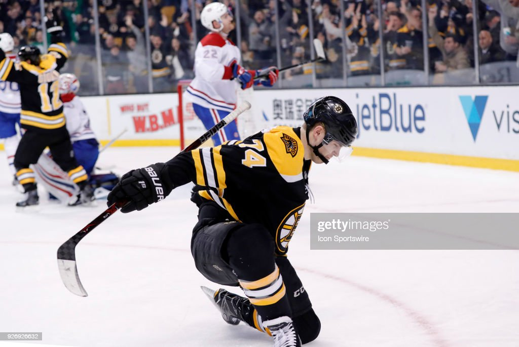 Boston Bruins left wing Jake DeBrusk (74) celebrates his late goal to draw the game even during a game between the Boston Bruins and the Montreal Canadiens on March 3, 2018, at TD Garden in Boston, Massachusetts. The Bruins defeated the Canadiens 2-1 (OT).