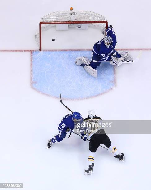 TORONTO ON APRIL 21 Boston Bruins left wing Jake DeBrusk scores on Toronto Maple Leafs goaltender Frederik Andersen in the second period as the...