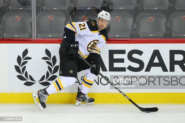 Boston Bruins left wing Nick Ritchie skates during the National Hockey League game between the New Jersey Devils and the Boston Bruins on January 14,...