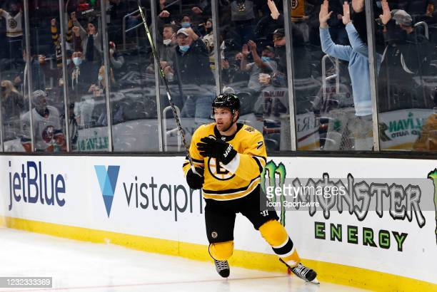 Boston Bruins left wing Taylor Hall and the fans react to his first goal in a Bruins uniform during a game between the Boston Bruins and the New York...