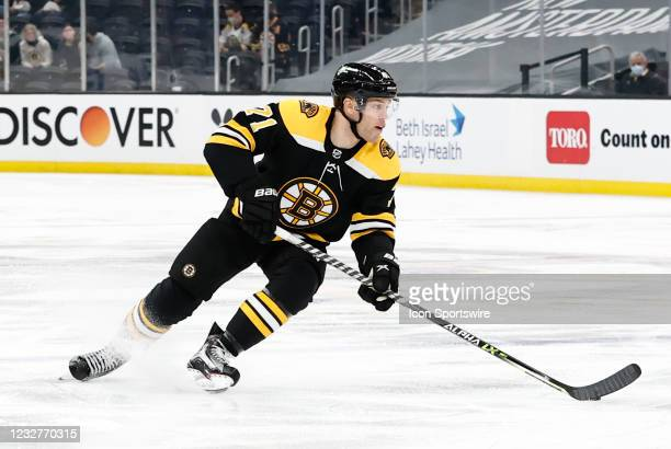 Boston Bruins left wing Taylor Hall turns to goal during a game between the Boston Bruins and the New York Rangers on May 8 at TD Garden in Boston,...