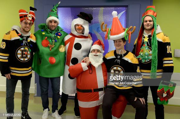Boston Bruins Matt Grzelcyk, Patrice Bergeron, Chris Wagner, Charlie McAvoy, Torey Krug, and Anders Bjork visited the kids at Boston Children's...