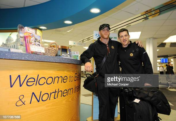 Boston Bruins players Sean Thornton who's mother was born in Belfast and Andrew Ference arrive at Belfast International Airport on September 30 2018...