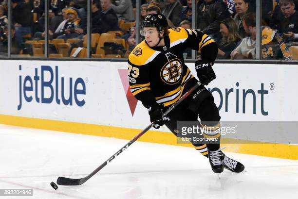 Boston Bruins right defenseman Charlie McAvoy looks to start a rush up ice during a game between the Boston Bruins and the Washington Capitals on...