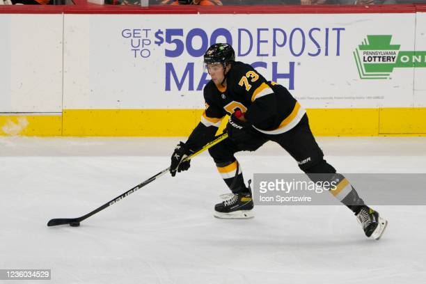 Boston Bruins Right Defenseman Charlie McAvoy skates with the puck during the second period of a National Hockey League game between the Boston...