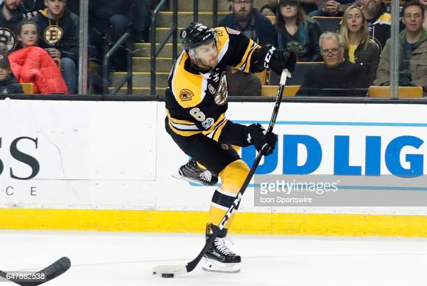 Boston Bruins right defenseman Colin Miller shoots during a regular season game between the Boston Bruins and the Arizona Coyotes on February 28 2017...