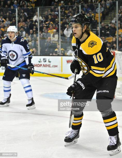 Boston Bruins Right Wing Anders Bjork looks for a pass from a teammate During the Boston Bruins game against the Winnipeg Jets on December 21 2017 at...