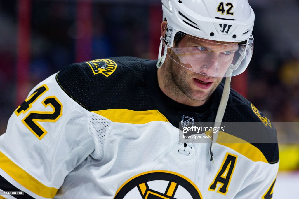 Boston Bruins Right Wing David Backes (42) participates in drills during warm-up before National Hockey League action between the Boston Bruins and Ottawa Senators on December 30, 2017, at Canadian Tire Centre in Ottawa, ON, Canada.
