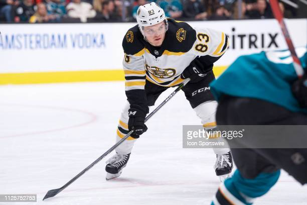 Boston Bruins right wing Karson Kuhlman awaits a faceoff during the San Jose Sharks game versus the Boston Bruins on February 18 at SAP Center in San...