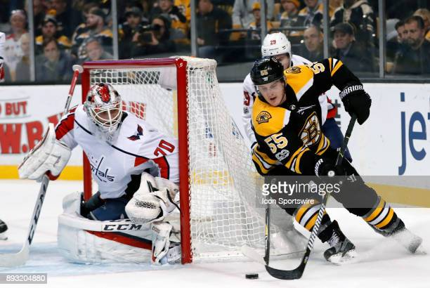 Boston Bruins right wing Noel Acciari beats Washington Capitals defenseman Christian Djoos and tries the wrap around on Washington Capitals goalie...