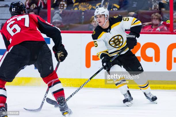 Boston Bruins Right Wing Noel Acciari looks to make a pass during third period National Hockey League action between the Boston Bruins and Ottawa...
