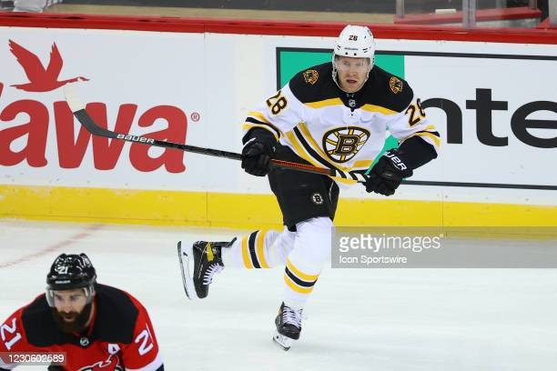 Boston Bruins right wing Ondrej Kase skates during the National Hockey League game between the New Jersey Devils and the Boston Bruins on January 14,...