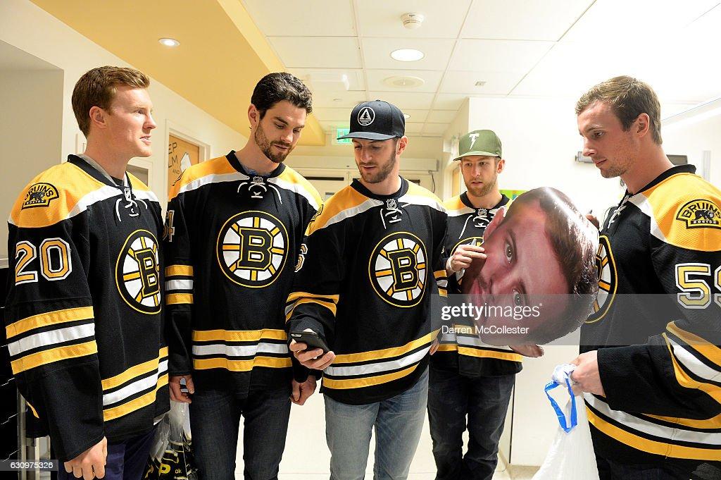 Boston Bruins L To R Riley Nash Adam McQuaid Colin Miller