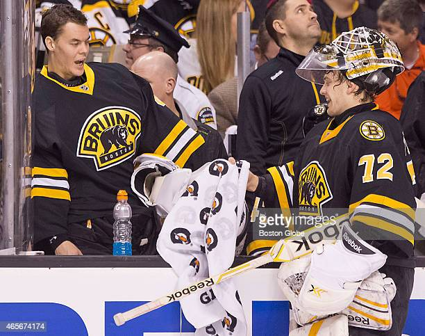 Boston Bruins starting goalie Tuukka Rask taking the day off giving advice to his replacement Niklas Svedberg who gave up some soft goals against the...