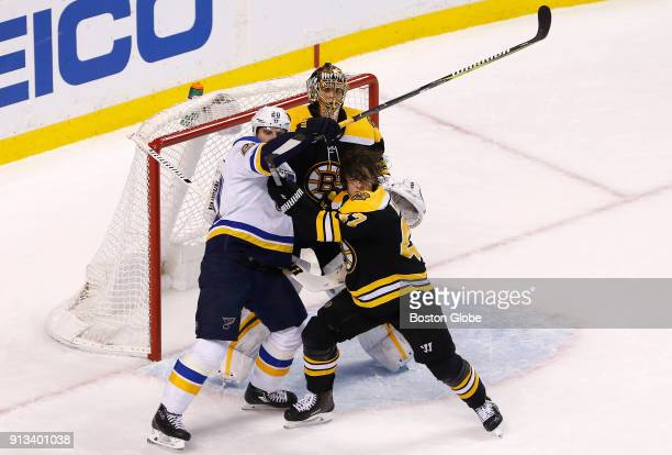 Boston Bruins' Torey Krug battles against St Louis Blues' Alexander Steen in front of the net during the first period The Boston Bruins host the St...