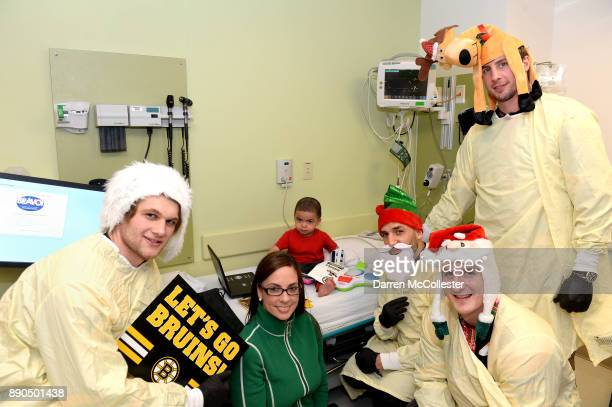 Boston Bruins visit with Ander Bjork Patrice Bergeron Noel Acciari and Tim Schaller visit with Nelson and Mom at Boston Children's Hospital December...