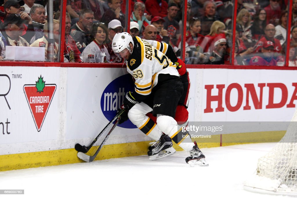 NHL: APR 15 Round 1 Game 2 - Bruins at Senators : News Photo