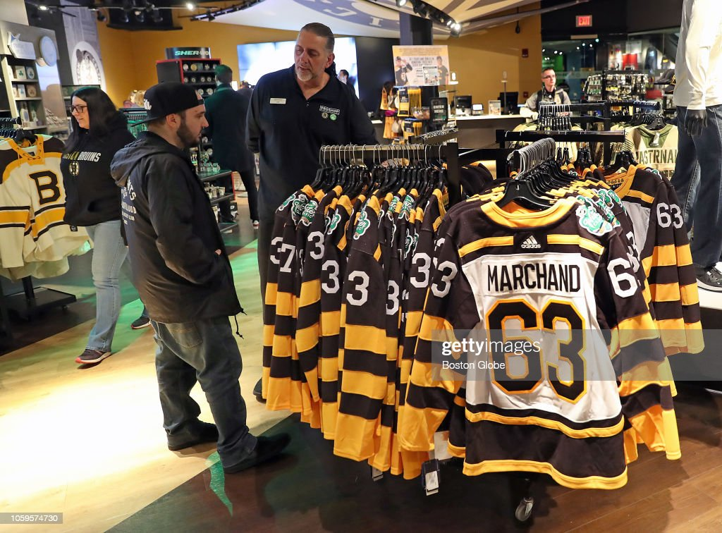 Boston Bruins Winter Classic jerseys are displayed for sale at the ... 2bda8ed2a