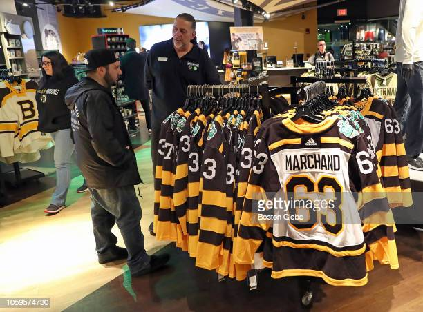 Boston Bruins Winter Classic jerseys are displayed for sale at the ProShop at TD Garden in Boston on Nov 8 2018