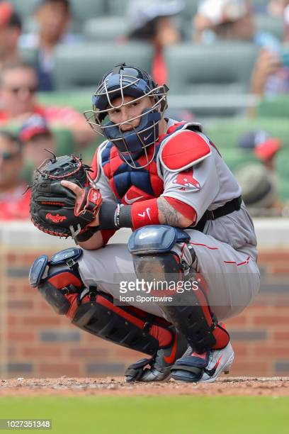 Boston catcher Christian Vazquez looks towards the dugout for a sign during the game between Atlanta and Boston on September 5th 2018 at SunTrust...