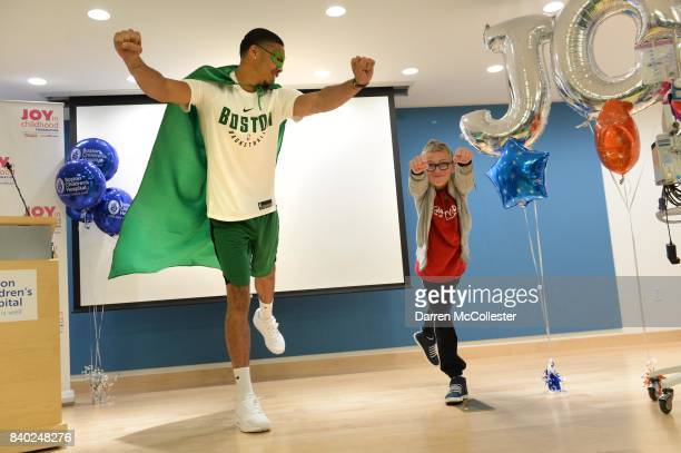 Boston Celtic Jayson Tatum and Matthias show of their super hero poses during Day of Joy Celebration at Boston Children's Hospital August 28 2017 in...