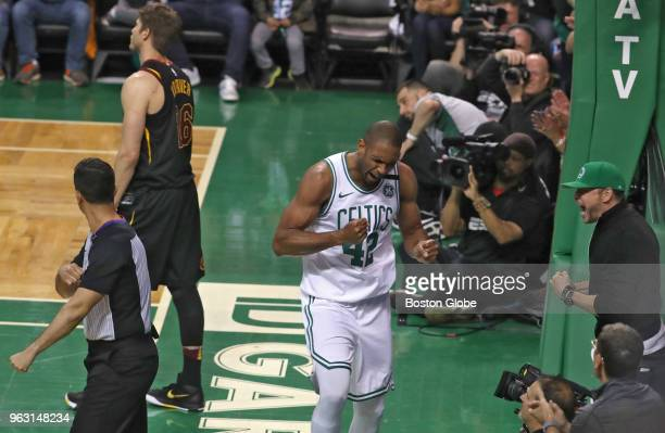 Boston Celtics Al Horford and Donnie Wahlberg react The Boston Celtics hosted the Cleveland Cavaliers for Game Seven of their NBA Eastern Conference...
